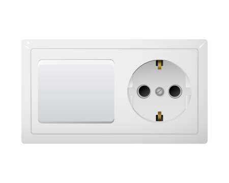 Electrical socket Type F with switch. Power plug vector illustration. Realistic receptacle from Europe. The lights turning on and off.