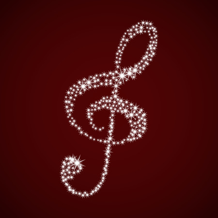 Shiny music treble clef. Vector illustration. Stars on a Burgundy background. Illustration