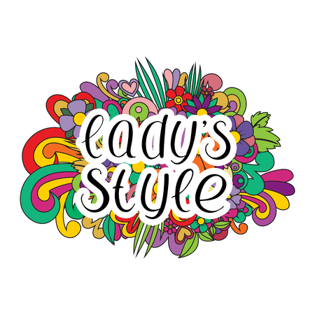 Lady style dance. Vector illustration of floral. Handwritten text.