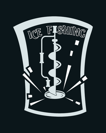 Ice fishing. Black and white vector illustration. Simple icon.