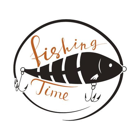 Fishing time. Wobbler lure for fish. Black and white logo. Vector illustration.