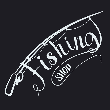Fishing shop. Calligraphy. Vector illustration Hobbies and recreation