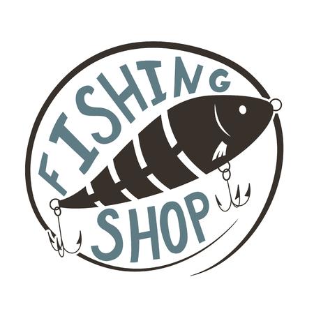 Fishing shop. Wobbler lure for fish. Black and white silhouette. Vector illustration. Vettoriali