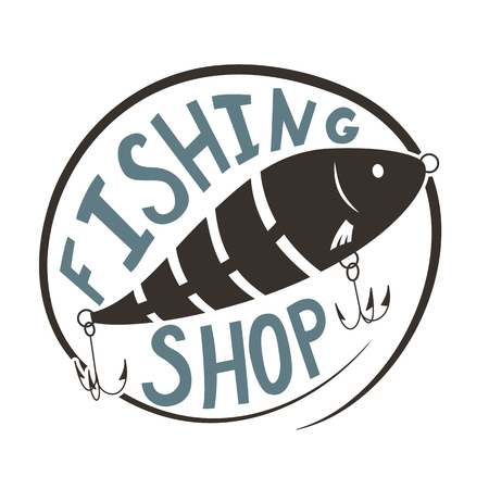 Fishing shop. Wobbler lure for fish. Black and white silhouette. Vector illustration.