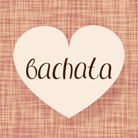Bachata dance. Vector illustration. Fabric heart design. Handwritten calligraphy Stock Photo