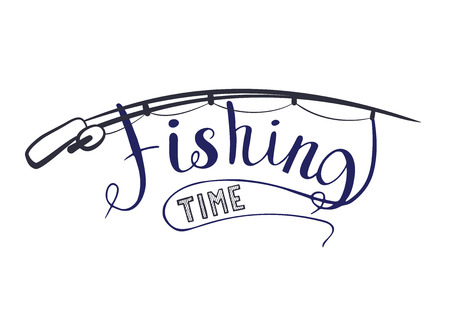 Fishing time isolated on a white background. Handwritten text. Vector illustration Illustration
