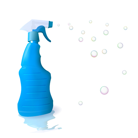 Blue housekeeping with detergent. Soap bubble. Cleaning and disinfection. Vector illustration.