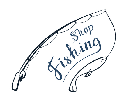 Fishing time. Lettering. Vector illustration Hobby angling