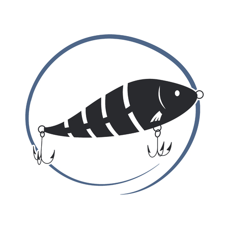 Wobbler lure for fish. Black and white icon. Vector illustration.