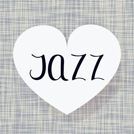 Jazz dance. Vector illustration. Music art. Fabric heart design. Handwritten calligraphy
