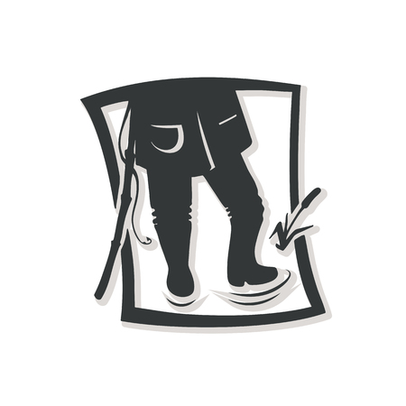 Silhouette of fisherman. Vector illustration. Logo of the fishing shop. Banque d'images - 106955696