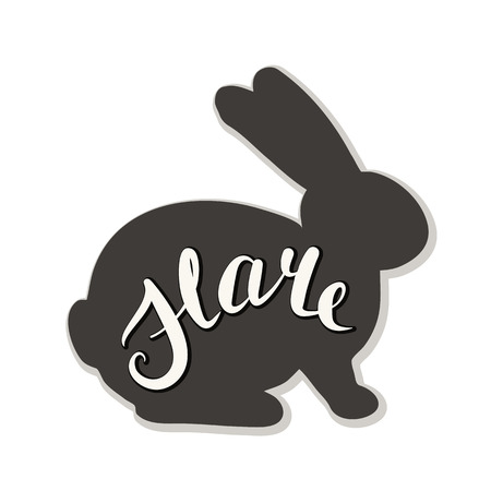 Silhouette of a hare on a white background. Vector illustration. Calligraphy inscription.