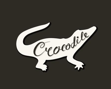 Flat icon of a crocodile. Vector illustration. Handwritten inscription.