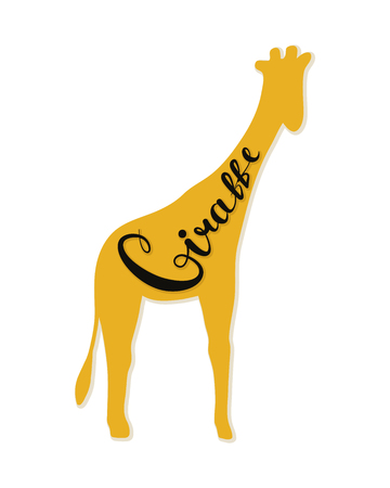 The logo of the giraffe. Vector illustration. Calligraphic text. Standard-Bild - 106955699