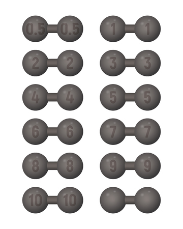 Dumbbells of different weight. Vector illustration. Sports equipment Illustration