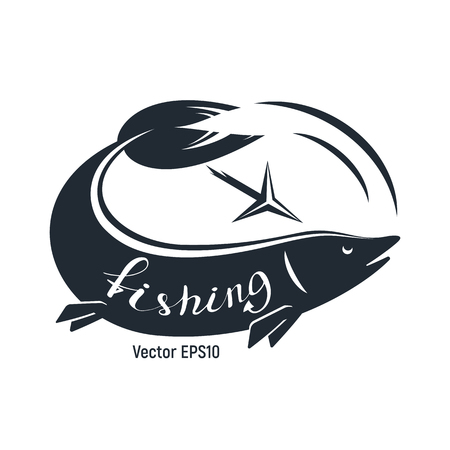 Fish with harpoon for fishing. Black and white is a simple vector illustration. Lettering.