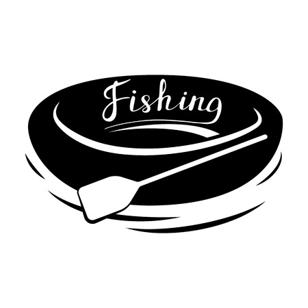 Rubber boat with paddle. Black and white icon. Vector illustration. Fishing.