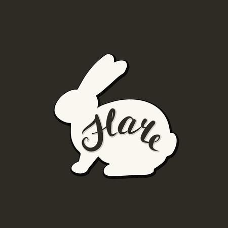 Flat icon of a hare. Vector illustration. Handwritten inscription. Standard-Bild - 106955703