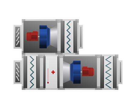 Vektorillustration des Lüftungssystems. HLK-Industrie. Heizung, Lüftung und Klimaanlage.