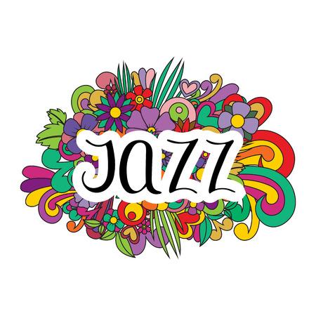 Jazz dance. Vector illustration. Pattern with flowers Lettering Standard-Bild - 112344184