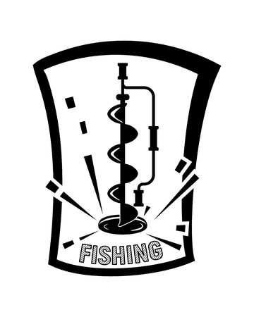 Winter ice fishing. Black and white vector illustration. Simple design