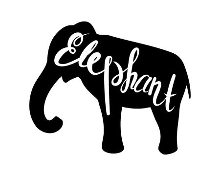 Silhouet van een olifant op een witte achtergrond. Vector illustratie. Kalligrafie inscriptie.