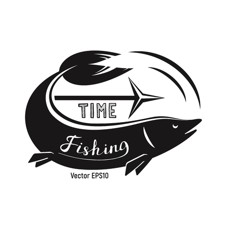Fish with harpoon for fishing. Black and white is a simple vector illustration. Calligraphy.