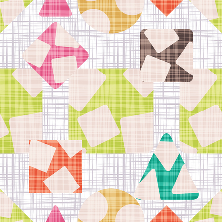 Fabric with geometric shapes. Vintage texture vector illustration. Rhombus, square, triangle and circle. Colorful Wallpaper.