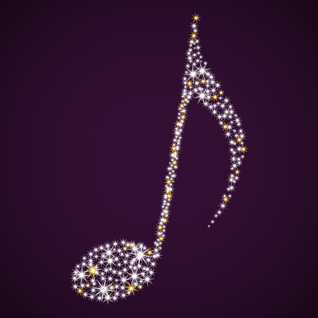 Shining musical note. Vector illustration. Stars on purple background.