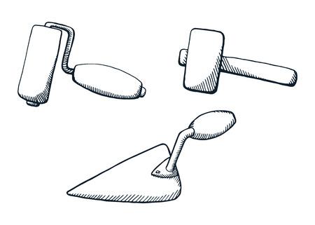 Un conjunto de herramientas de construcción. Ilustración de vector de diseño blanco y negro. Rodillo de cepillo, martillo, espátula.