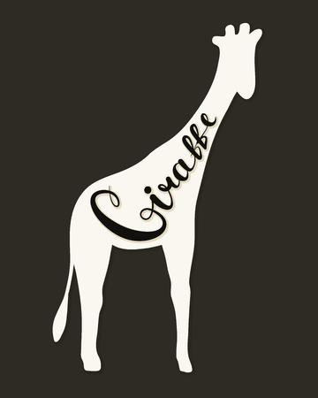Flat icon of a giraffe. Vector illustration. Handwritten inscription. Standard-Bild - 106227626