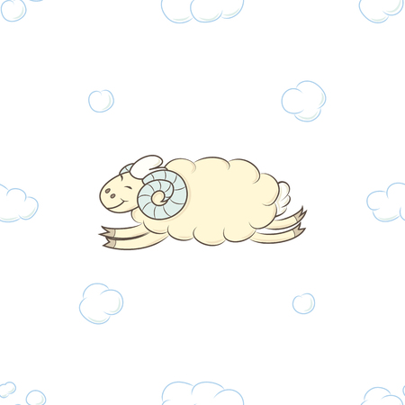 Cute sheep flying in the clouds vector illustration. Decoration seamless pattern background. Baby boy Wallpapers.