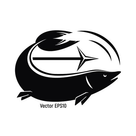 Pesce con arpione per la pesca. Il bianco e nero è un'icona semplice. Illustrazione vettoriale.