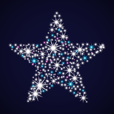 Abstract star tonight. Glowing sequin. Christmas Card. Vector illustration New year.