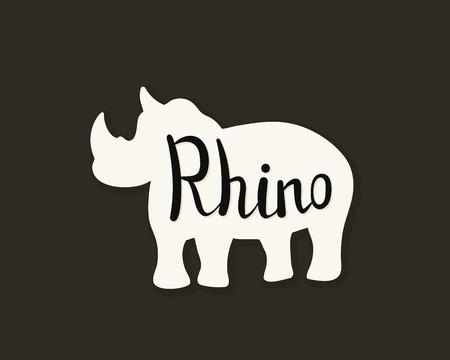 Flat icon of a rhino. Vector illustration. Handwritten inscription.