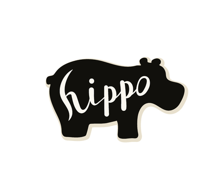 Silhouette of a hippo on a white background. Vector illustration. Calligraphy inscription. Illustration