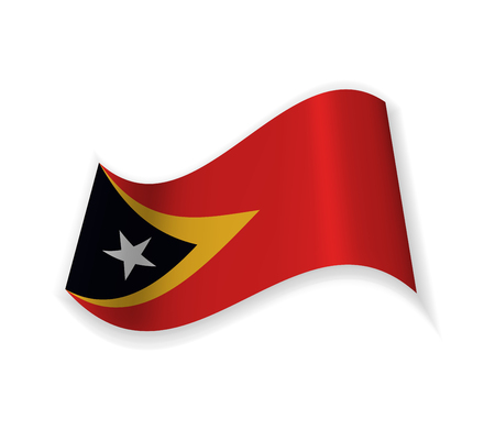 East Timor Flag. Country to country in Southeast Asia. Vector illustration. National symbol.  イラスト・ベクター素材
