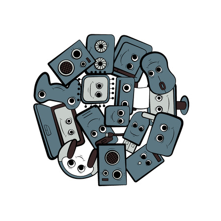 Computer design vector illustration. Cartoon character. PC equipment