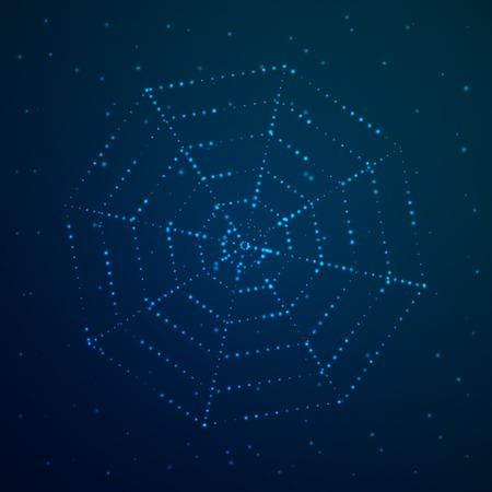 Cobweb glows against the sky. Vector illustration. Night background design. Vektoros illusztráció