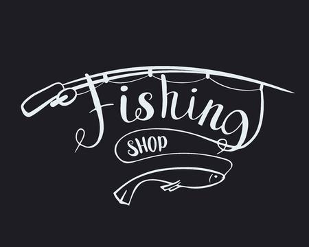 Fishing shop. Lettering text. Vector illustration Angling Illustration