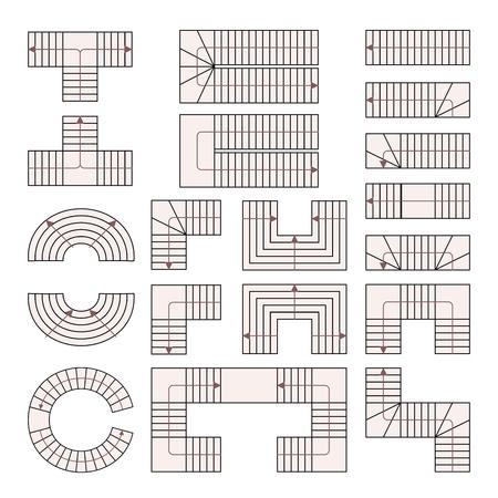 Treppe zeichnen. Leiter stellen. Vektor-Illustration. Abstraktes Gebäudesymbol