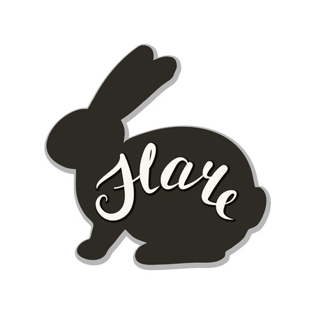 The logo of the hare. Vector illustration. Calligraphic text. Standard-Bild - 110682827