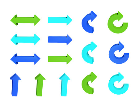 Satz Pfeile. Dreidimensional. Grüne und blaue Farbe. Vektor-Illustration