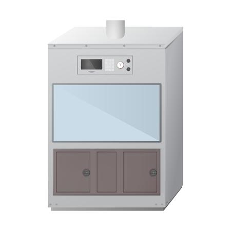 Okap wyciągowy. Laboratorium chemiczne i biologiczne. Sprzęt wentylacyjny do eksperymentów. Ilustracja wektorowa.