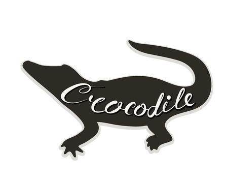 The logo of the crocodile. Vector illustration. Calligraphic text. Standard-Bild - 110683763