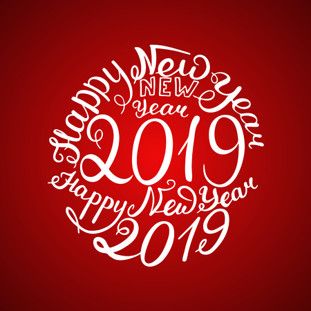 2019 New Year. Phrase the beautiful handwriting. Vector illustration. Red background Standard-Bild