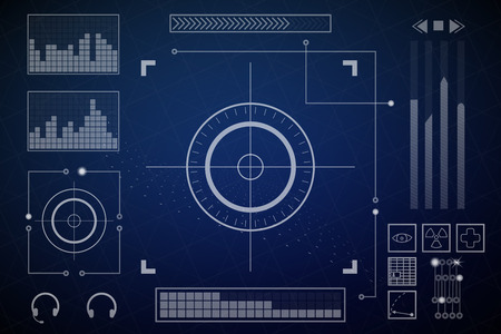 Futuristic screen. Charts and dashboards. Vector illustration. Blue and white colors. 向量圖像