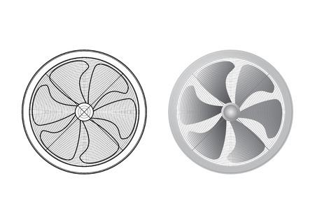 Reihe von Ventilatoren. Sechs der Klinge. Technische Vektorillustration. Die HLK-Ausrüstung. Vektorgrafik