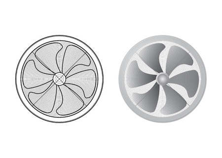 Set of fans. Six of the blade. Technical vector illustration. The HVAC equipment.