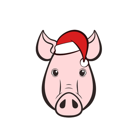 Pigs head in a hat. 2019 New Year. Vector illustration.
